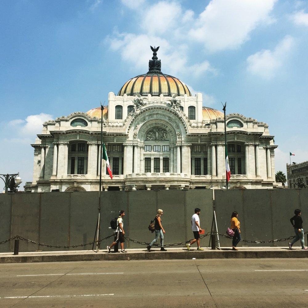 Palacio de Bellas Artes, blocked off due to protests.