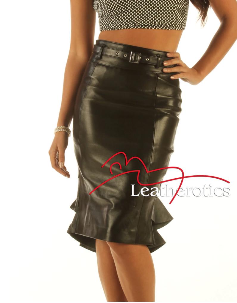 Fishtail leather skirt