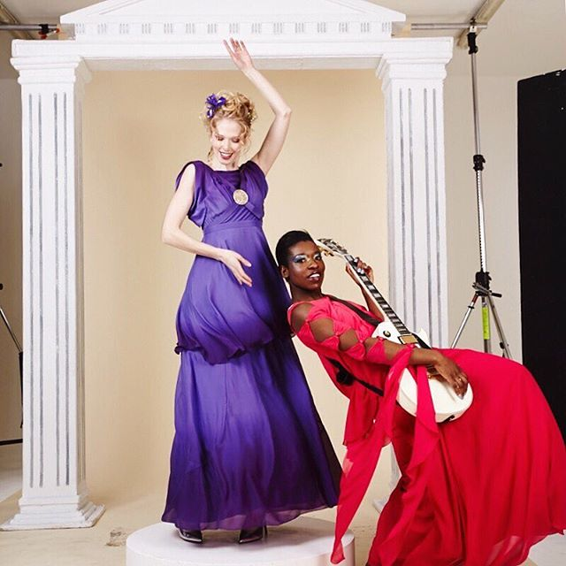 Caught in action. #behindthescenes throwback to our last @bazaaruk #style shoot featuring @markiepearl  @jocelynprah  @billiescheepersphotography  #guitar #rock #dance #fashion #red #purple#guitar #rock #dance #fashion #red #purple #bts #model #fun
