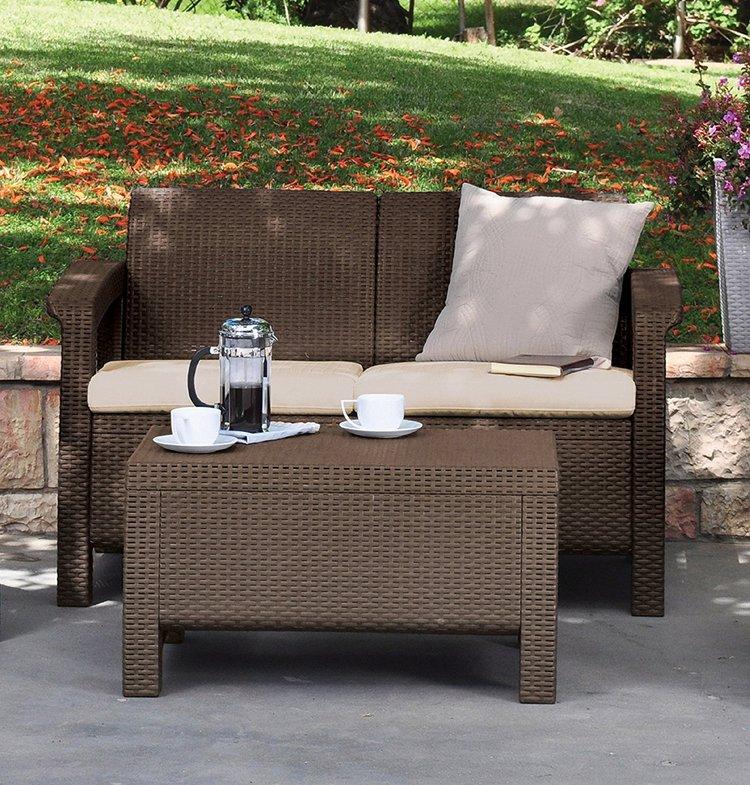 Garden Furniture Love Seat keter corfu love seat all weather outdoor patio garden furniture w