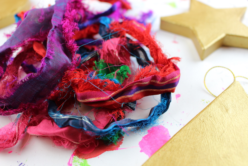 recycled sari ribbon ornaments
