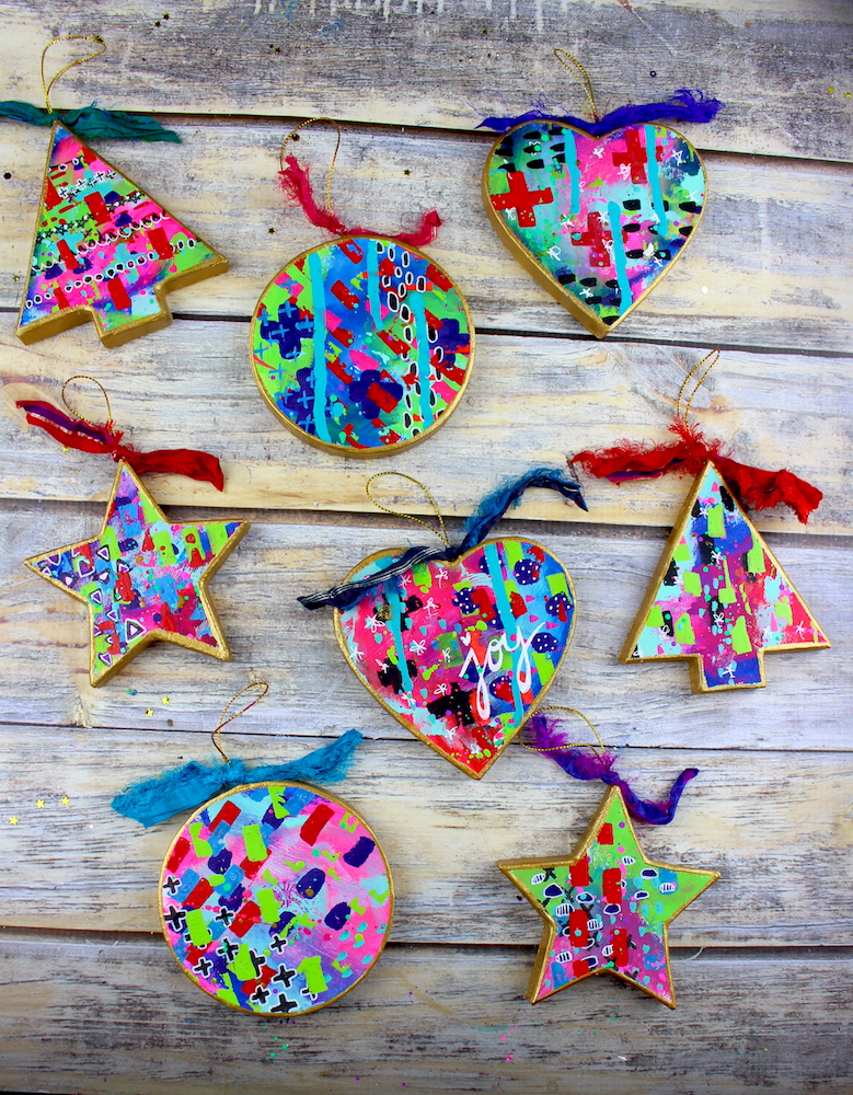 diy mixed media ornaments