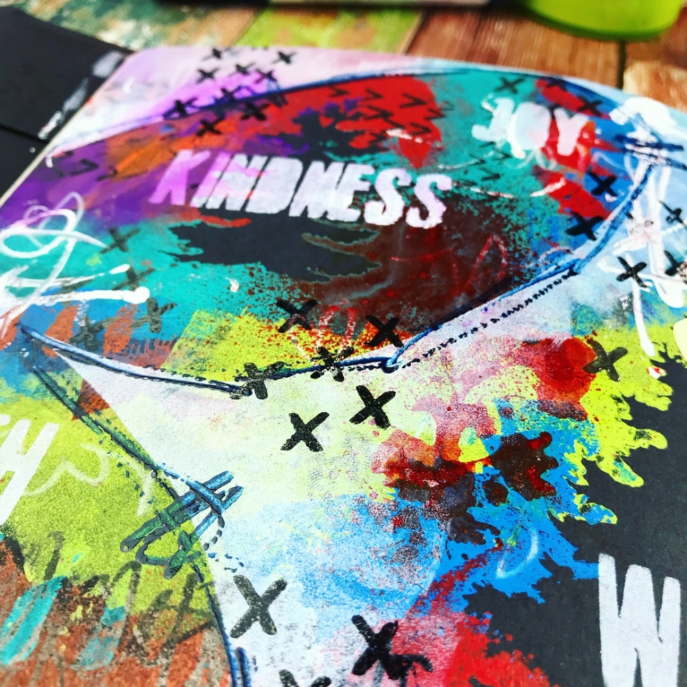 I'll show you how to create this colorful, layered journal page spread using masks and stencils over on  Shawn Petite blog !