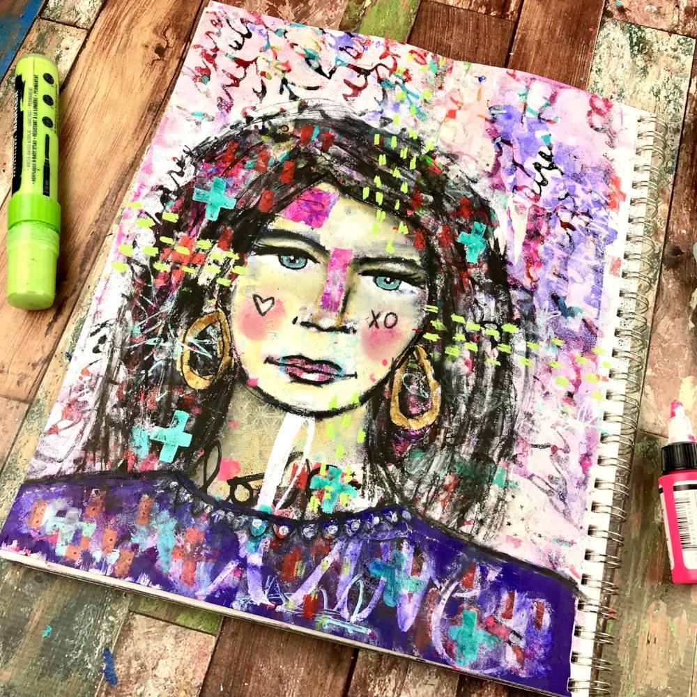 mixed media portrait art journal