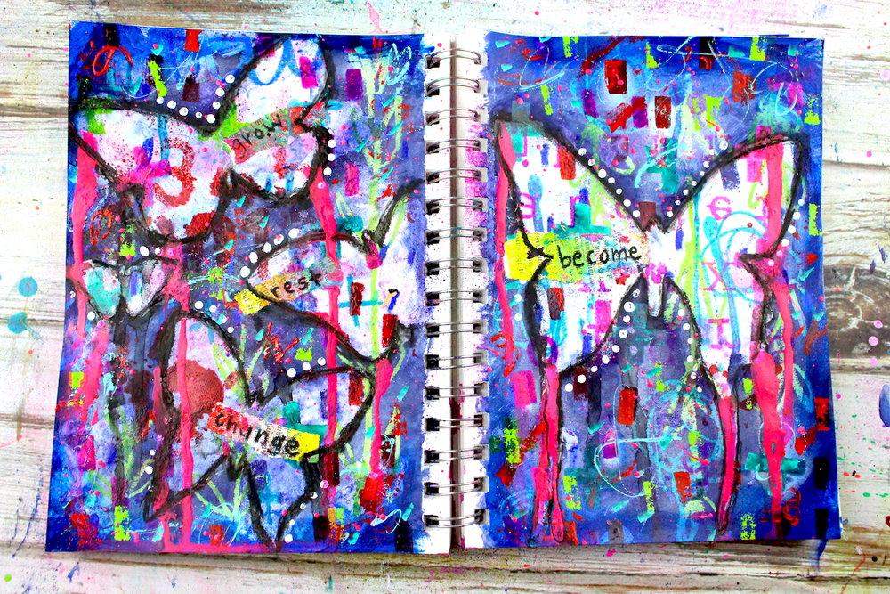 mixed media butterfly resist art journal