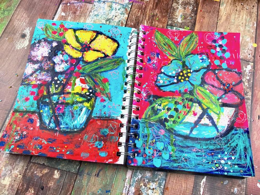 mixed media florals