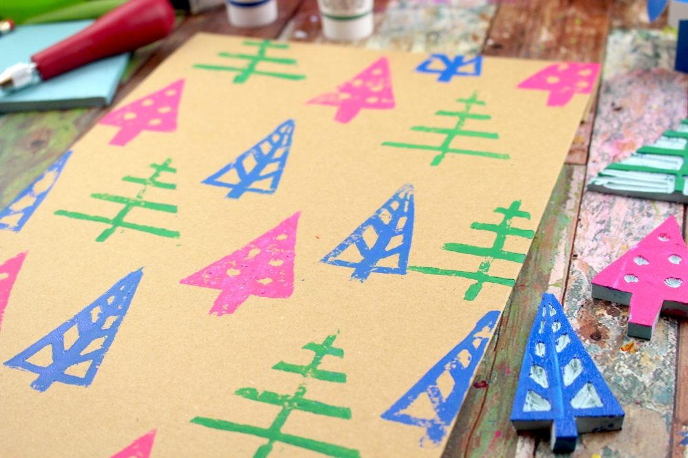 DIY gift wrap stamp carving