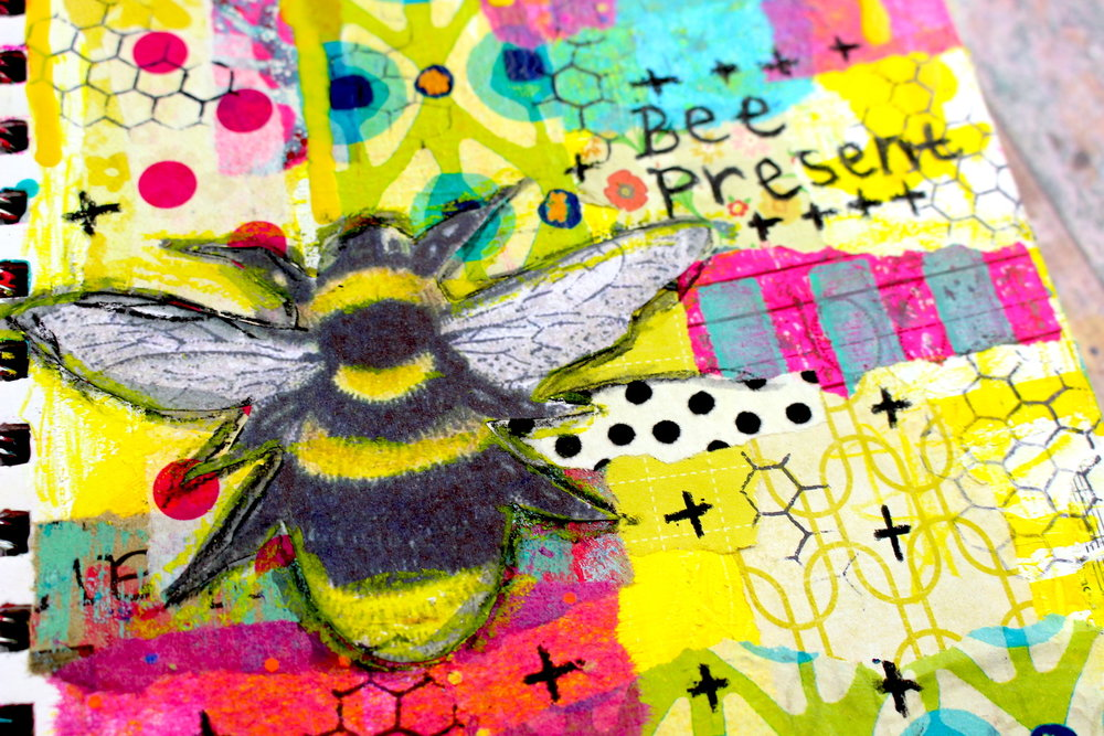 mixed media bee journal page life documented