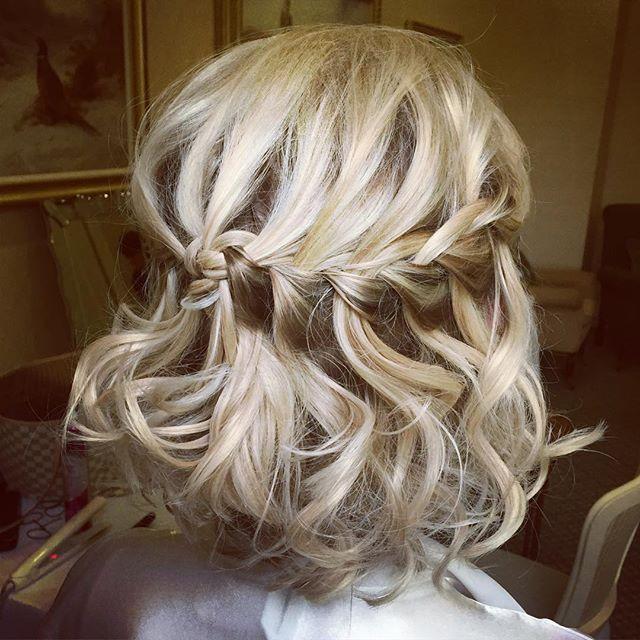 Bridesmaid hair from yesterday's wedding @kilworthhouse #fishtailbraid #hairbykatieattwood #curlyhair #curlybob #plaits #blondehair