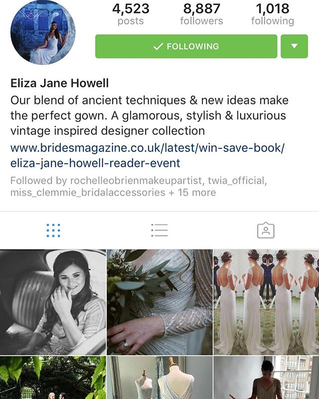 Lovely to see two of my brides have been shared on the Eliza Jane Howell page ☺️ thanks for the repost 👍🏼