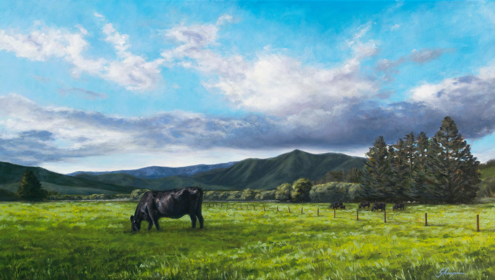 Grazing in Glentunnel, 2017, Oil on canvas, 700 x 400mm , (27.5 in x 15.7 in)