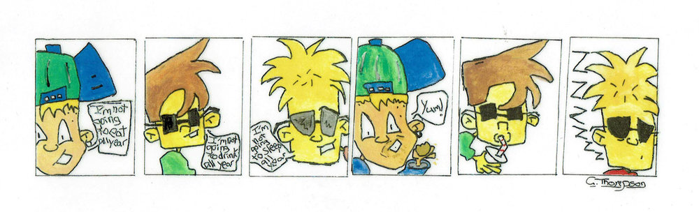 Comic strip of characters I developed aged 10 years.