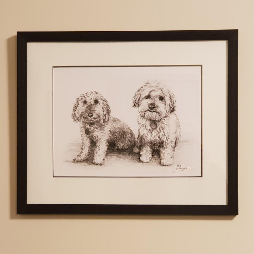 "'Troy and Bailey' - Charcoal on Paper 14"" x 11"""