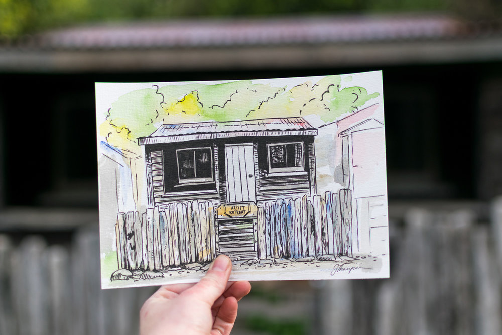 My finished drawing of the Artist Retreat Cabin.