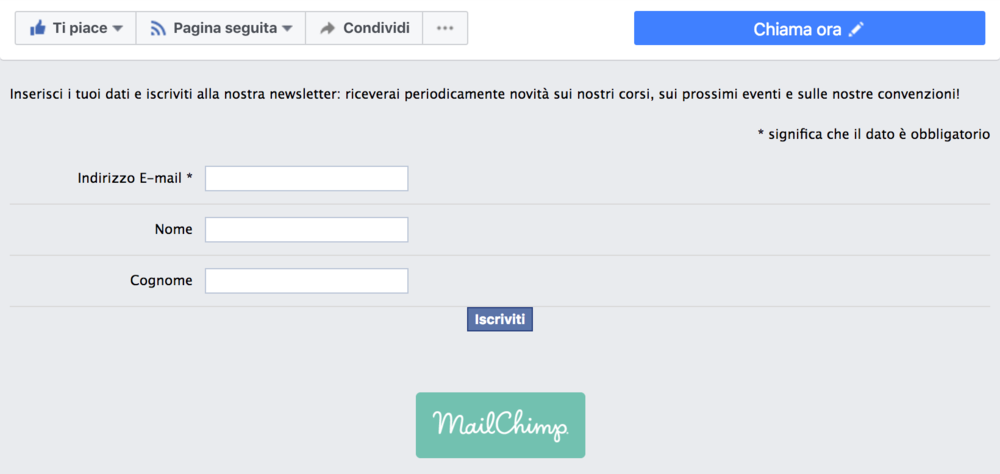 Mailchimp si integra con Facebook e creare il modulo di iscrizione alla newsletter è semplicissimo!