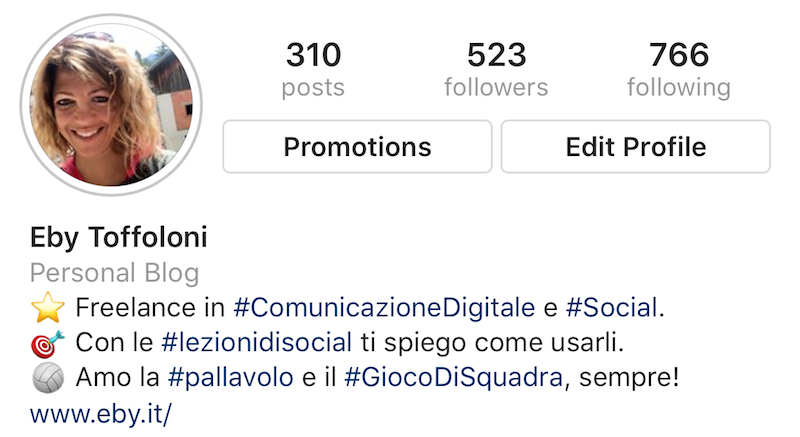 La BIO del mio profilo Instagram.