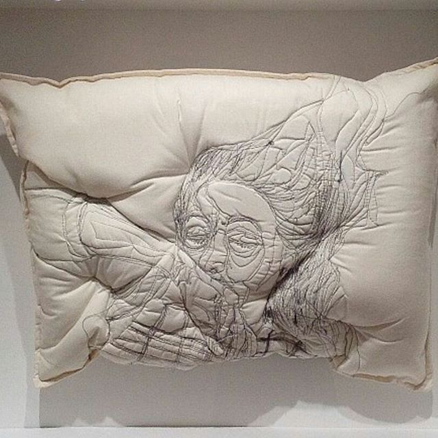 If you haven't seen @maryamashkanianstudio's sleep series, you are truly missing out! See how she uses embroidered pillows to capture dreaming in a truly unique way.⠀ ⠀ #MaryamAshkanian #fiberartist  #artist #contemporary #art #iran #sleep #dream #dreaming #embroider #pillow