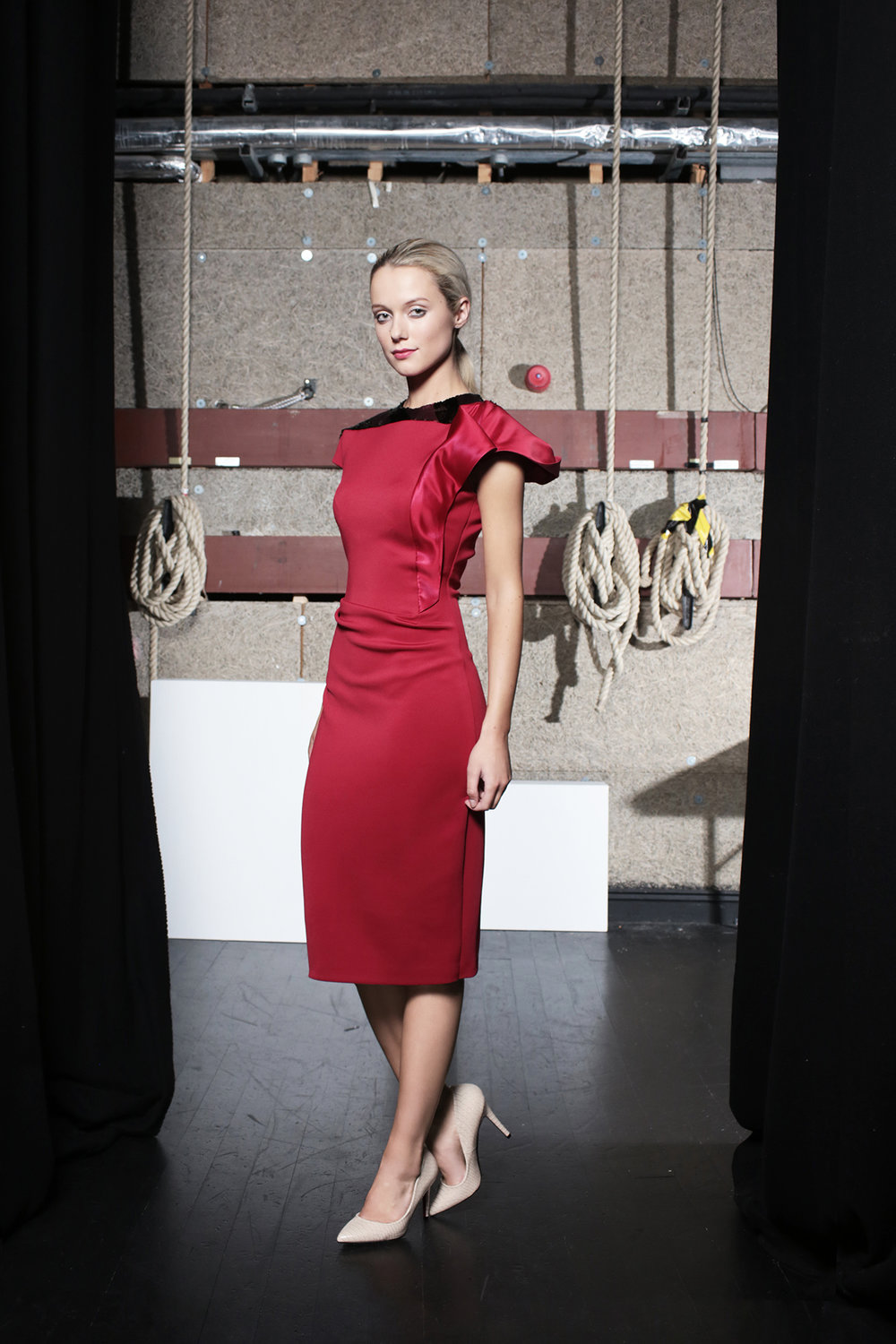 Hepburn Dress Claret Neoprene