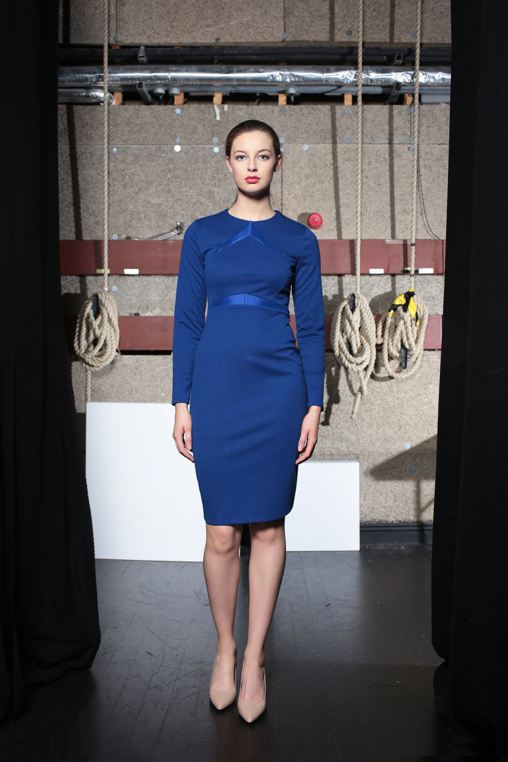 Streep dress electric blue