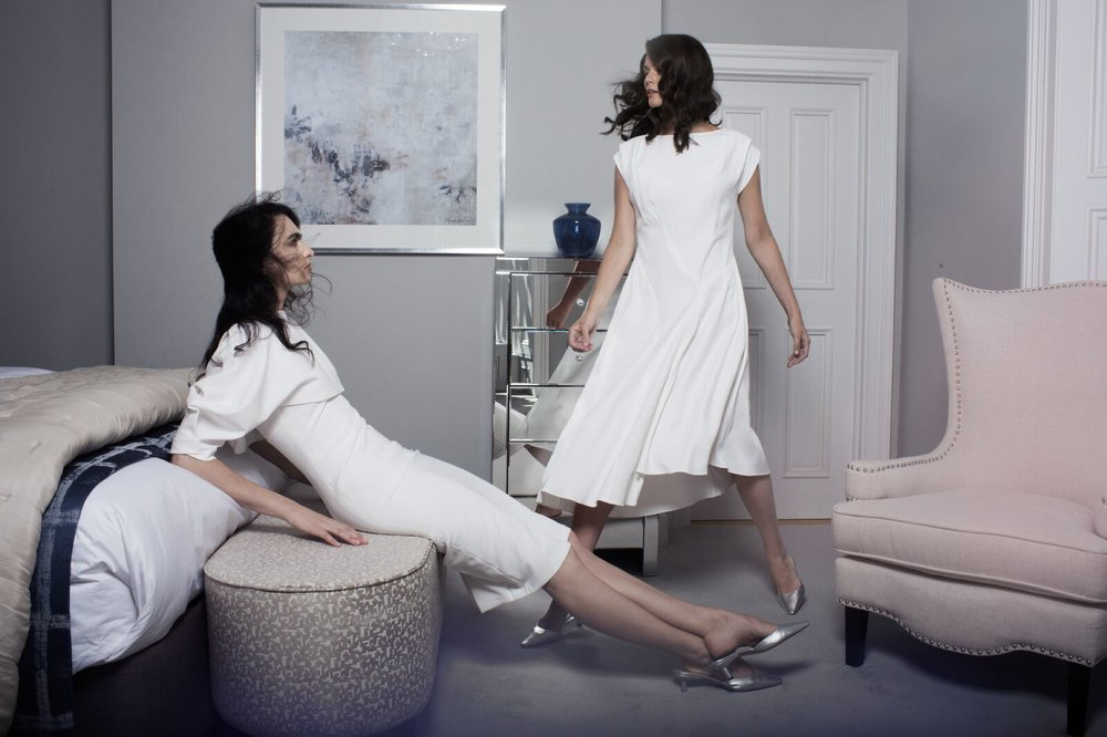 Leah Dress with sleeve in white €243.00  Emma Dress in white €297.00