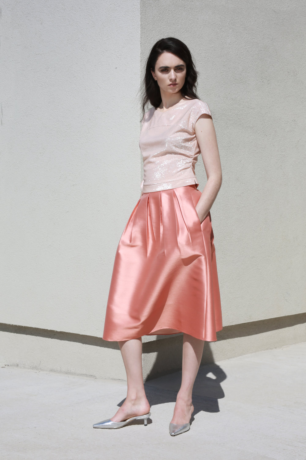 Evelyn Top in Nude Shine €148.00  Poppy Skirt in Apricot €256.00