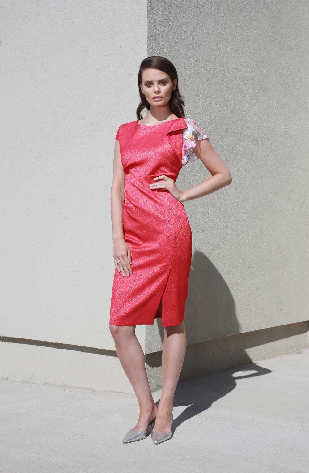 Sophie Dress in Raspberry with Poppy lace sleeve €283.00