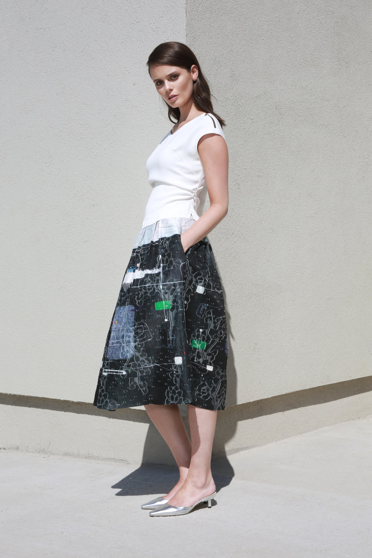 Evelyn Top in White €148.00  Poppy Skirt in Geometric Print €256.00