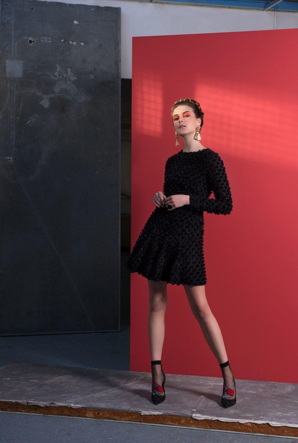 Mia Dress with Pom Pom Detail