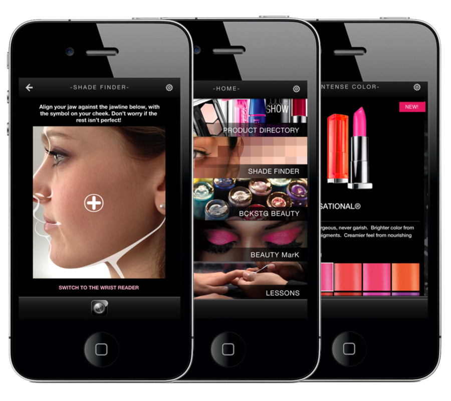 Custom Mobile Application Developed for Maybelline - First cosmetic application to use Augmented Reality in the retail experience.