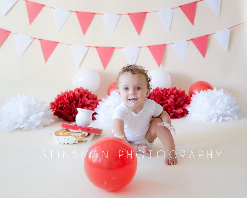carnival themed cake smash one year old baby new jersey photographer
