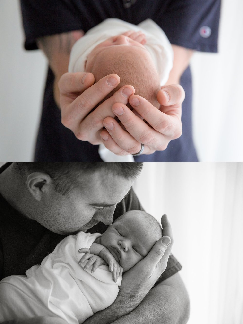 nj newborn photos dad holding baby