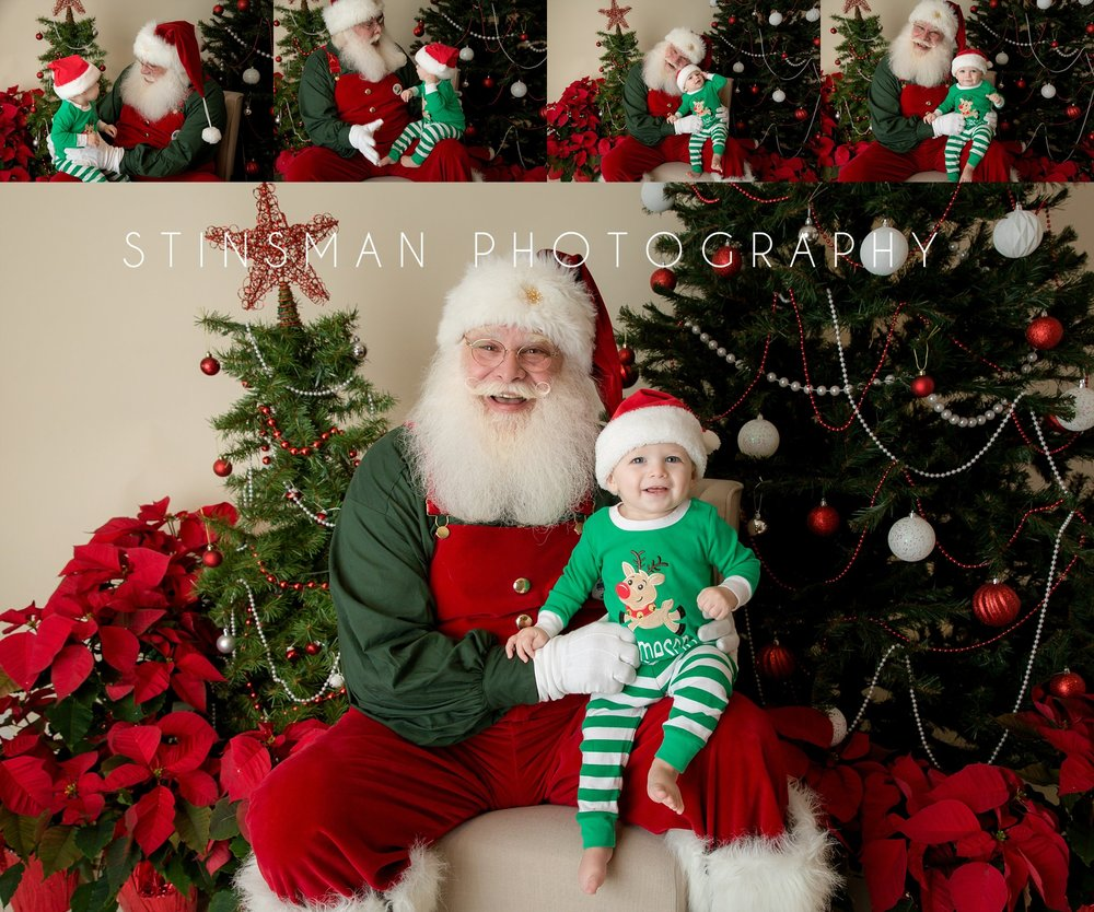 baby boy wearing pajamas with Santa new jersey photographer