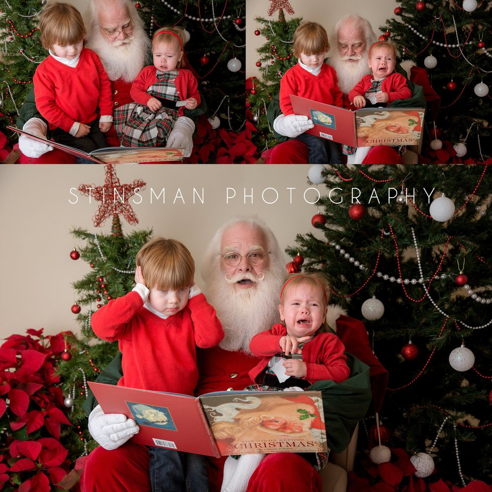brother and sister sitting with santa but little girl is crying new jersey photographer