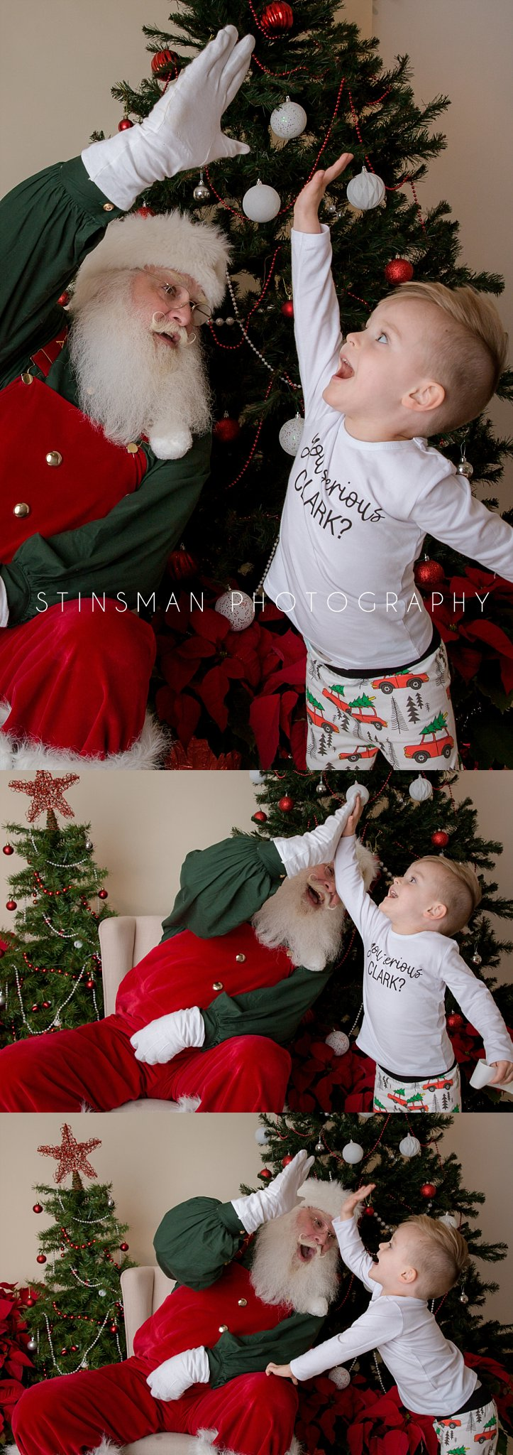 high fives from santa to a little boy in pajamas south jersey photographer