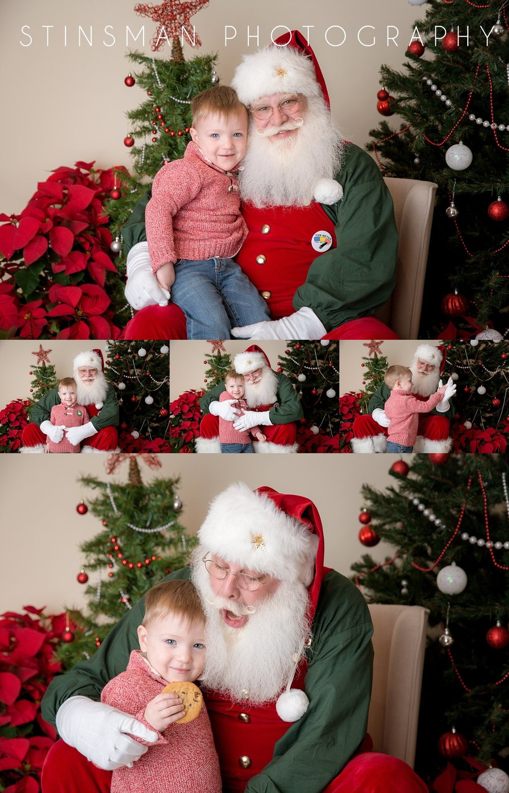 boy wearing a red sweater and eating a cookie with santa in south jersey photo shoot