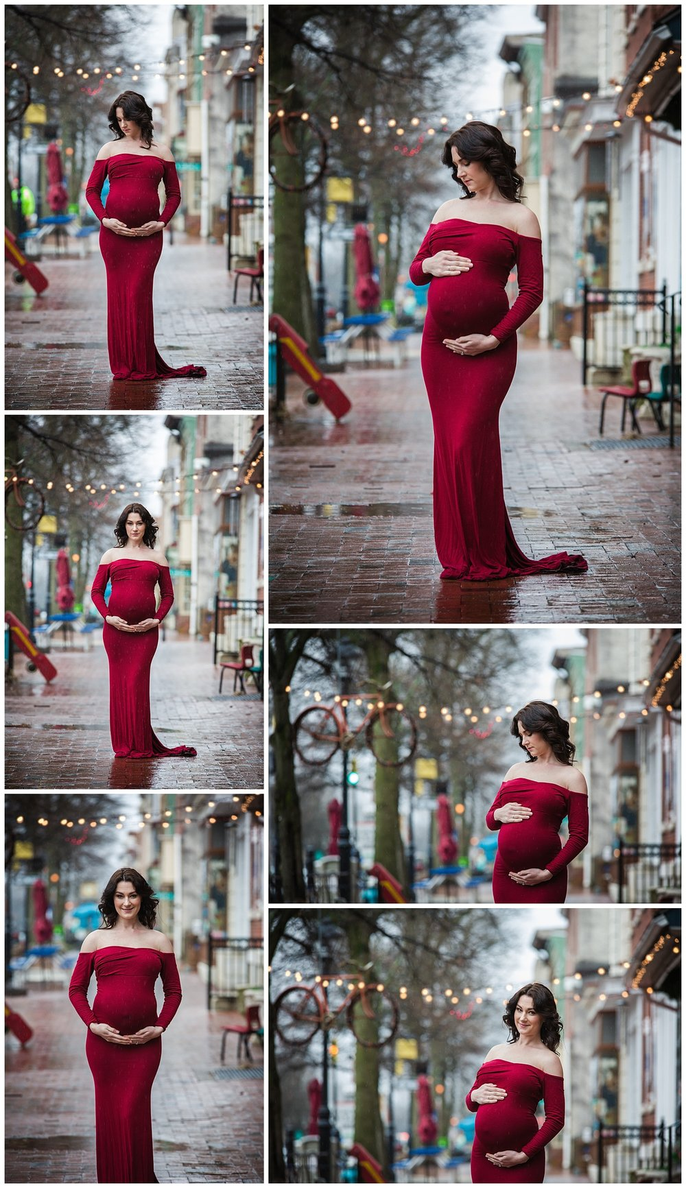 pregnancy photos in a red dress in burlington nj while raining
