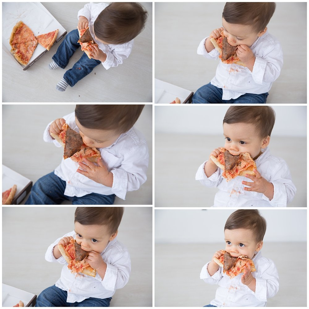first birthday photos in studio burlington new jersey eating pizza