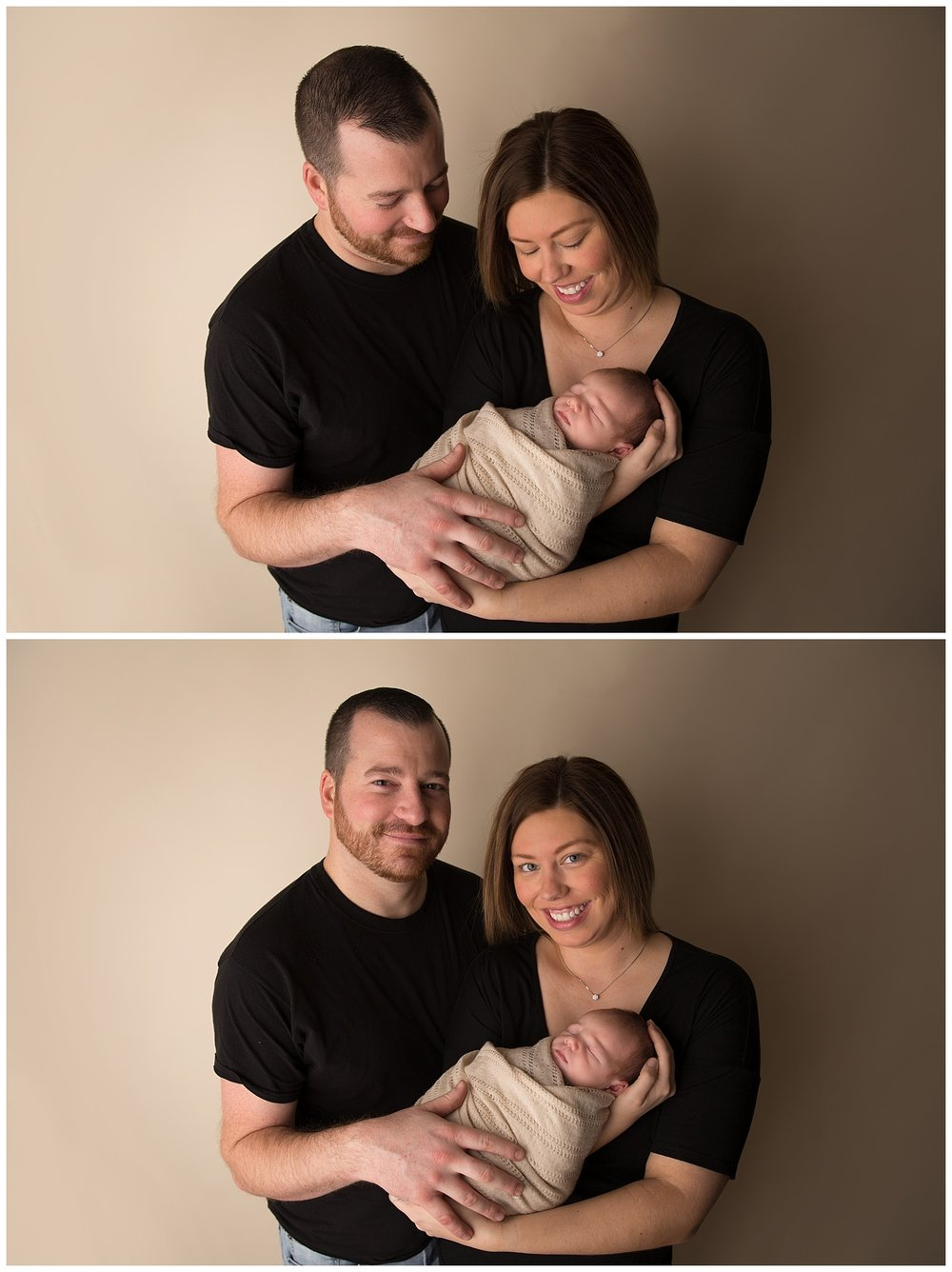 family holding their newborn baby in photo shoot in burlington new jersey