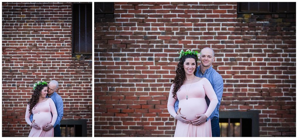 brick wall maternity session in mount holly and burlington new jersey wearing a flower crown