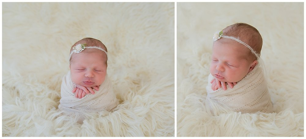 baby girl wrapped up for her newborn session in burlington nj studio