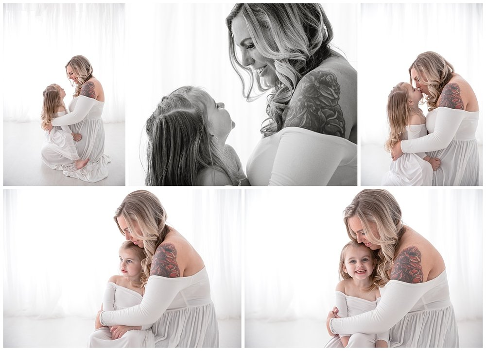 beautiful mom wearing white with her four year old daughter in burlington nj photo shoot
