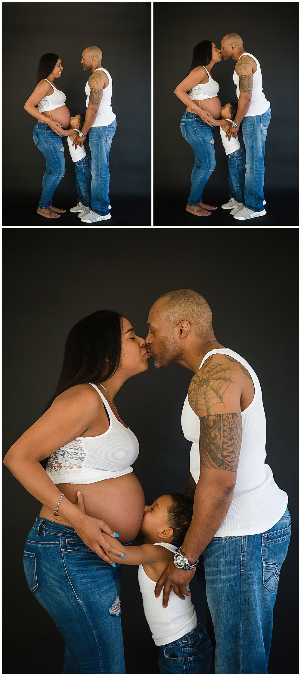 In Studio Black Couple Burlington New Jersey Maternity Photos Wearing White Shirts And Blue Jeans