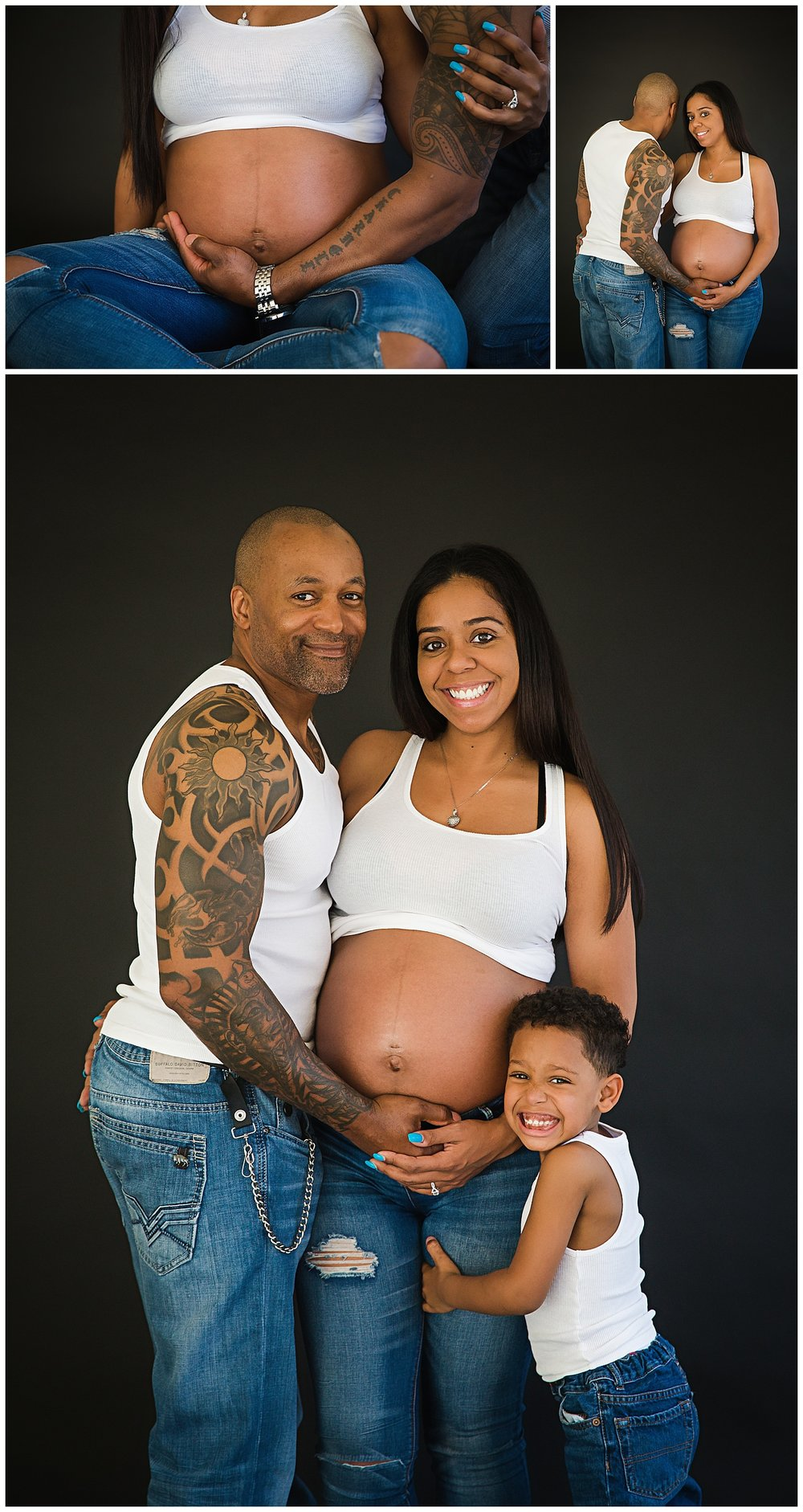 dad and son hugging pregnant mom's belly in maternity photos in burlington new jersey newborn photographer