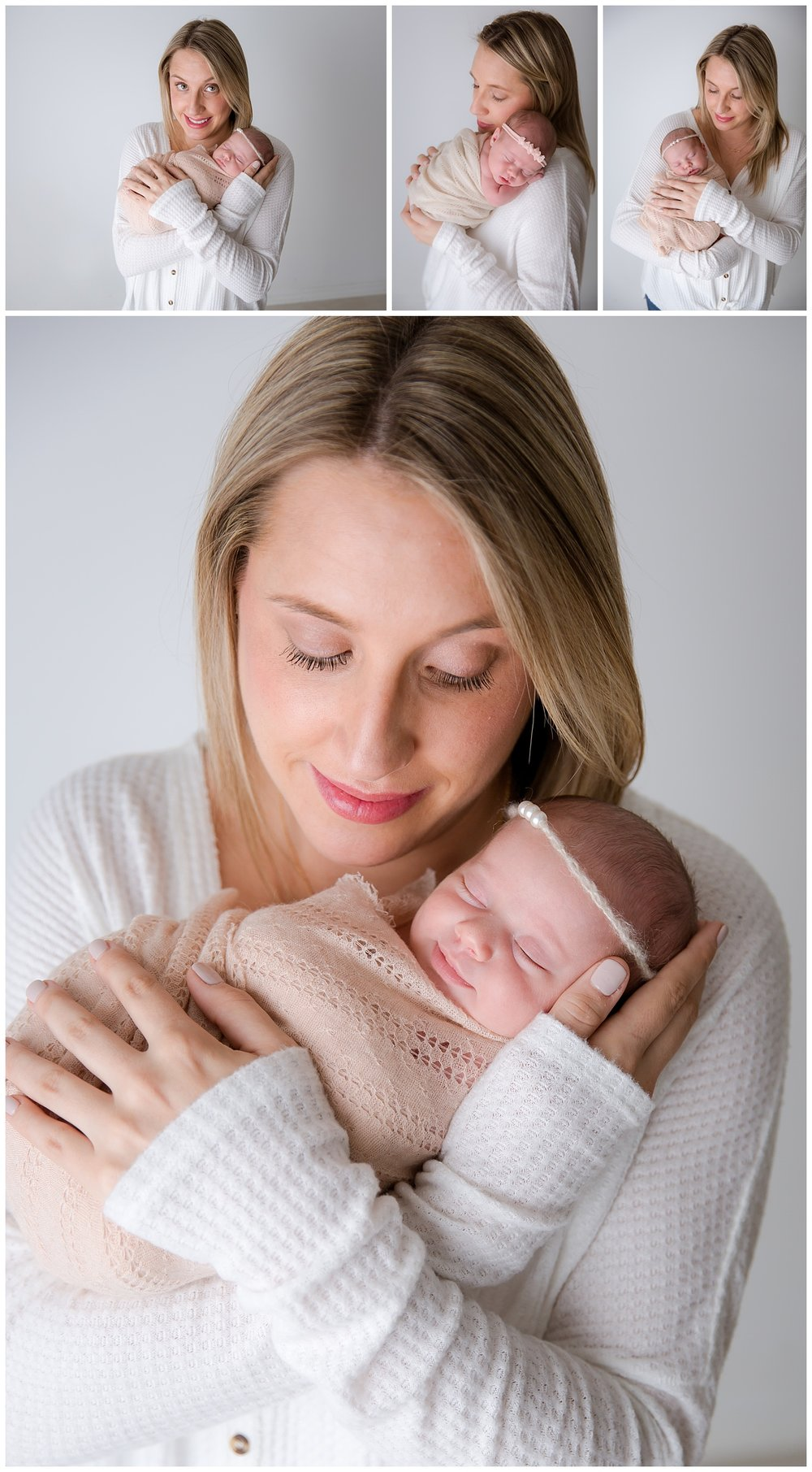 baby girl being held by her mom in new jersey newborn photo shoot