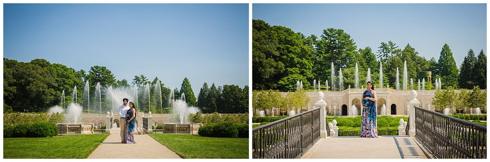 longwood gardens fountain photos with pregnant maternity portraot session