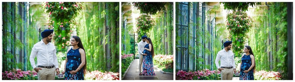 Beautiful Indian couple at longwood gardens in Pennsylvania for maternity photos