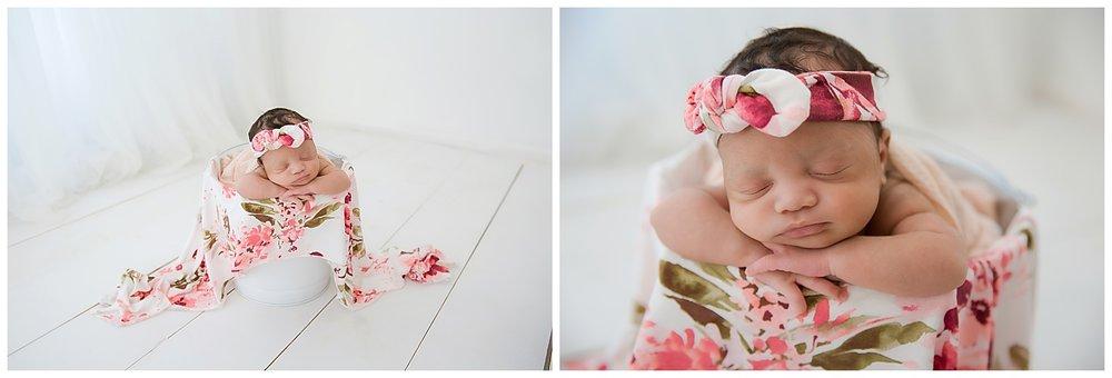 baby girl wrapped in floral in burlington nj studio