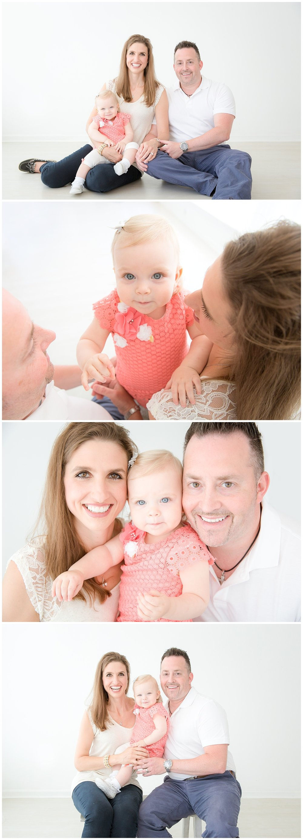 mom and dad snuggling their little girl who is wearing pink in moorestown new jersey photo studio