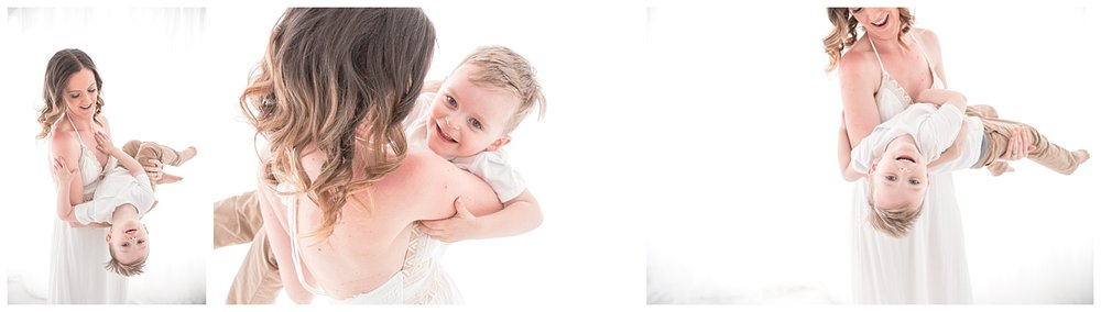mom swinging around her 3 year old son for mommy and me photos in moorestown jersey studio