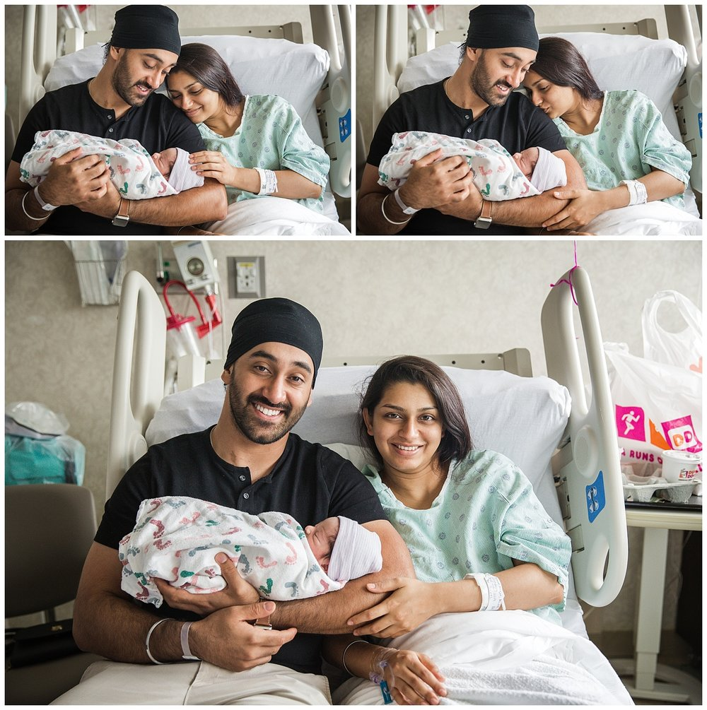 mom and dad snuggling with their new baby boy at cooper university hospital in fresh 48 session moorestown new jersey